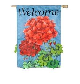 Geranium Welcome Garden Burlap Flag