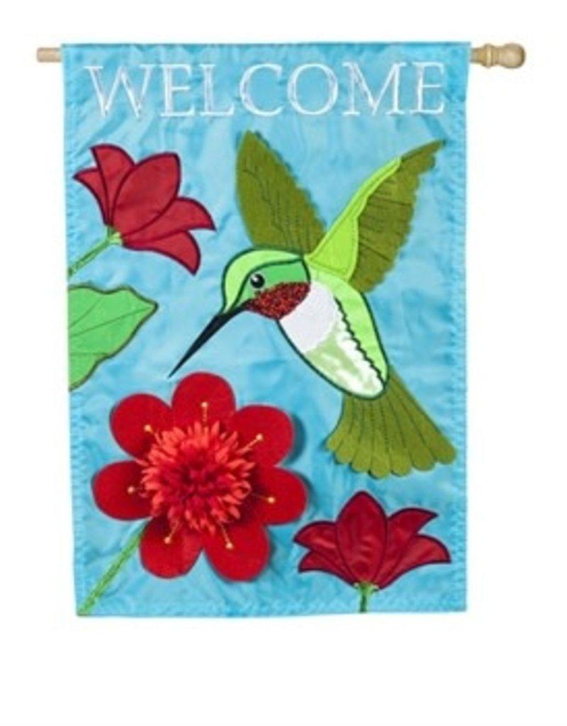 Hummingbird Welcome House Applique Flag