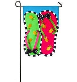 Pineapple Flip Flops Garden Applique Flag
