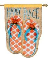 Happy Place Flip Flop House Linen Flag