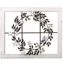 Metal Wreath with Cotton on Window Frame
