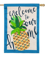 Welcome to Our Home Pineapple House Burlap Flag