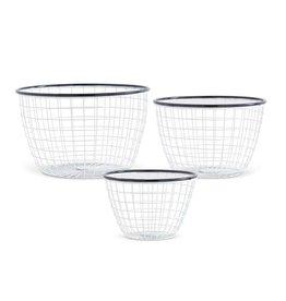 Black and White Enamel Mesh Round Basket Medium
