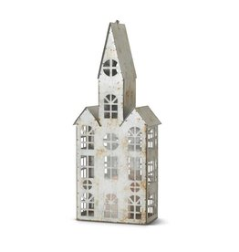 """22"""" Tin Church w/Triple Roofs and Battery Oper"""