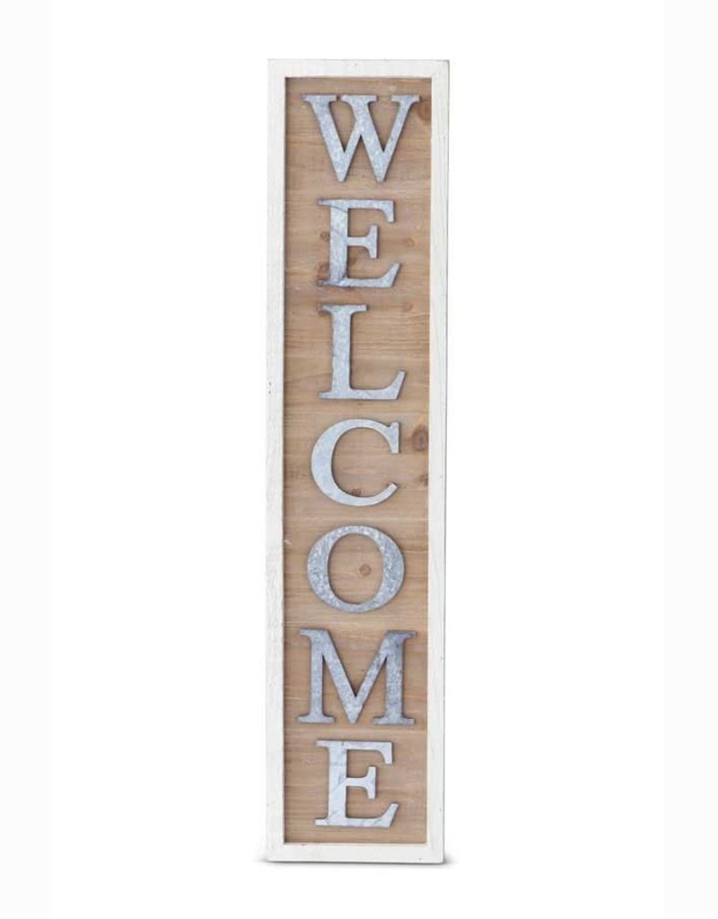 """35.25 Inch Vertical Wood Sign with Tin """"Welcome"""""""