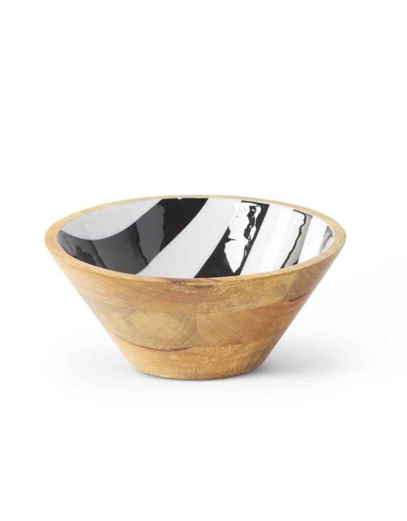 """8"""" Wooden Bowl - Black & White Enamel Inside"""