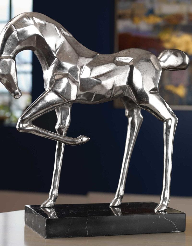 Phoenix Sculpture in Antiqued, Brushed Nickel