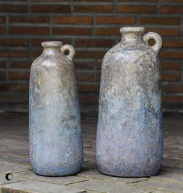 Large Ragini Bottle,  in Aged Caramel w/Blue Gray Glaze
