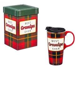 Ceramic Travel Cup 17 OZ w/Box Best Grandpa