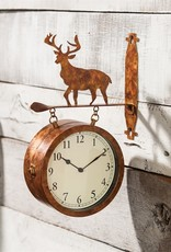 2 Sided Outdoor Wall Clock & Thermometer - Deer