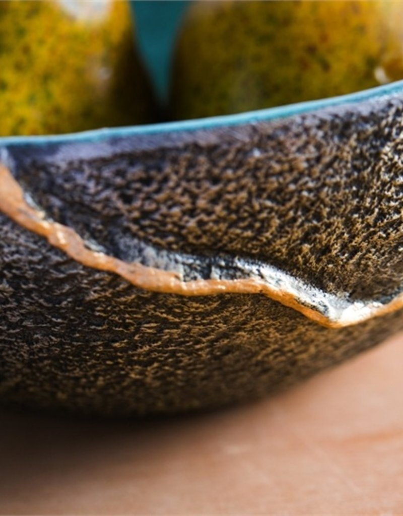 Teal Decorative Enamel Bowl, Set of 3