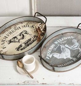 Farmhouse Oval Serving Tray -Cow