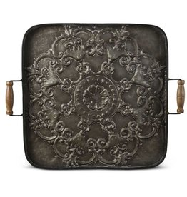 24.25 Inch Square Metal Tray w/wood handle wall art