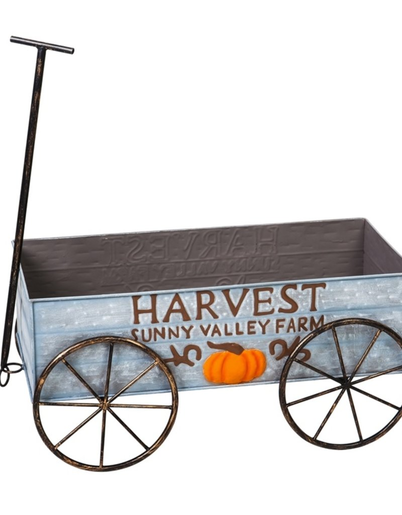 "25.5"" Harvest Metal Decorative Wagon"