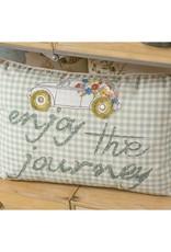 """""""Enjoy the Journey"""" White & Blue Stripes Lumbar Pillow"""