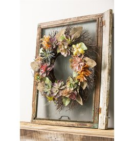 """Evergreen Enterprises Twig Wreath with Succulents and Berries 20"""""""