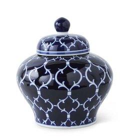 K & K Interiors 10 Inch Lidded Ceramic Ginger Jar w/Blue/White Design