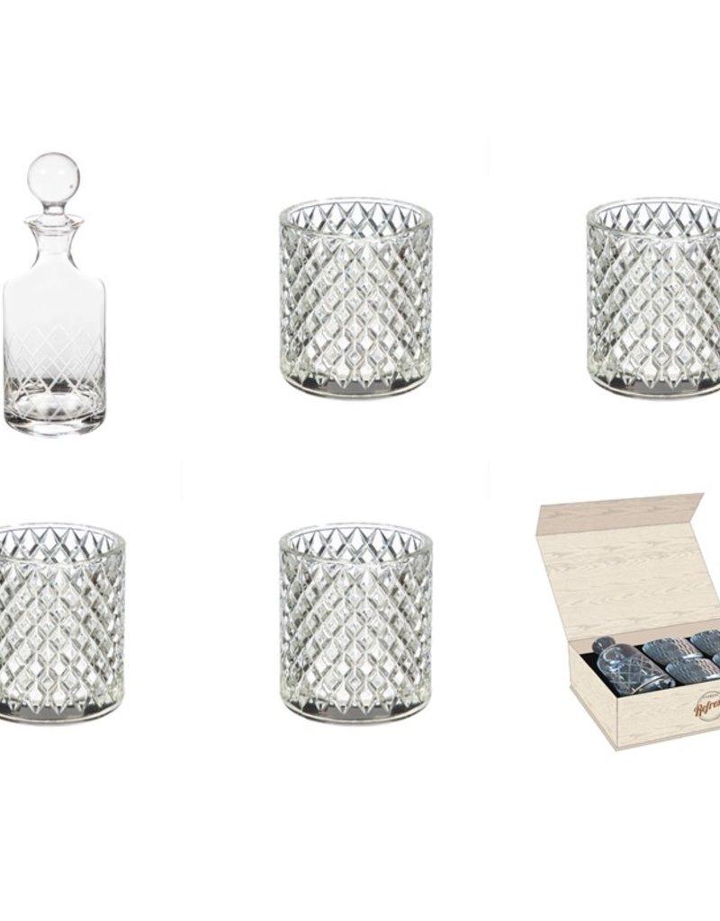 Evergreen Enterprises Glass Whiskey Five Piece Set, Diamond Pattern