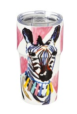 13 oz. Double Wall Ceramic Cup w/Lid - Safari Brush