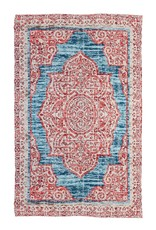 Red with Turquoise Digitally-Printed Indoor/Outdoor Rug, 4'x6'