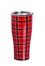 Stainless Steel Beverage Cup, 17 oz., Red Plaid