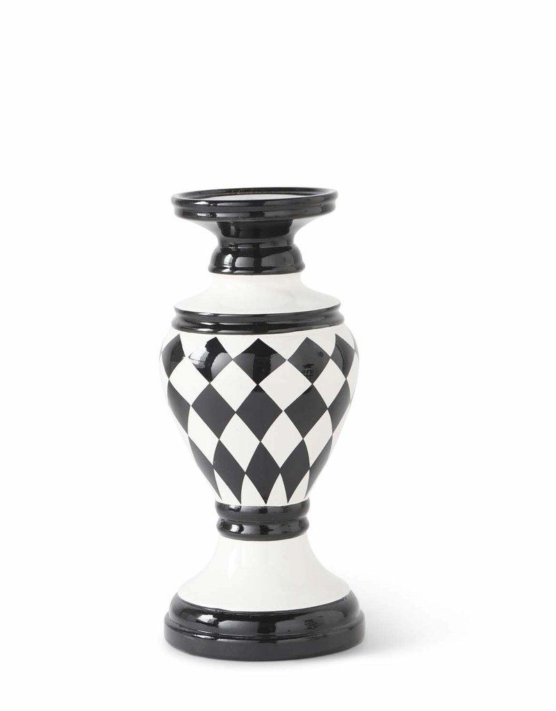 10 Inch  Black/White Harlequin Ceramic Candleholder