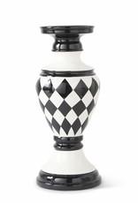 12 Inch  Black/White Harlequin Ceramic Candleholder