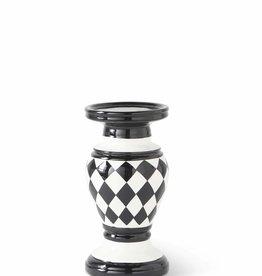 8 Inch  Black/White Harlequin Ceramic Candleholder