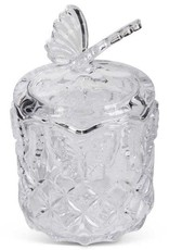 7.25 Inch Clear Glass Butterfly Lidded Container