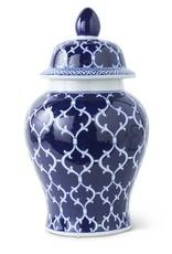 14187B 18 Inch Lidded Ceramic Ginger Jar w/Blue/White Design