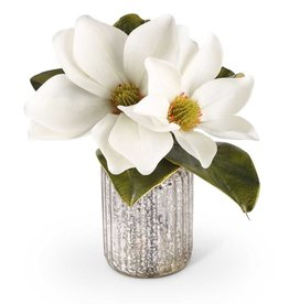 12 Inch White Magnolia Stem in Mercury Glass Vase