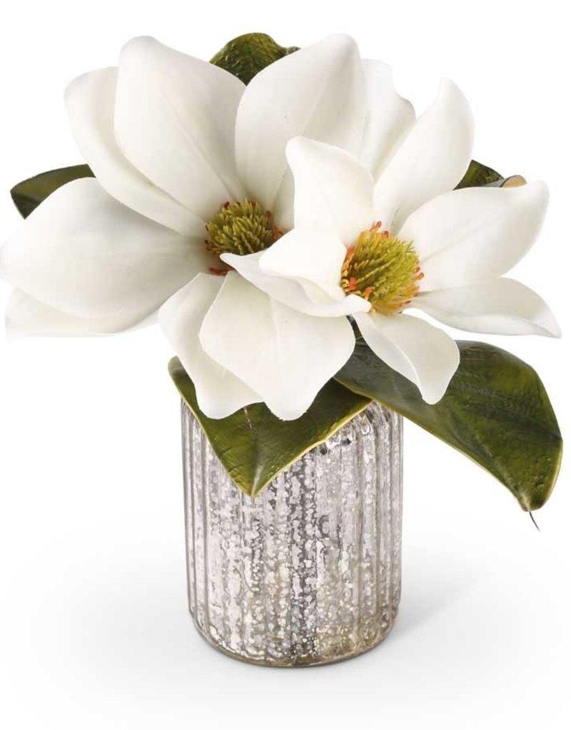 12 Inch White Magnolia Stem in Mercury Glass Vase