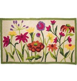 """Indoor/Outdoor Hooked Rug, Wildflowers 42""""x 24"""""""