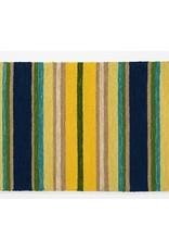 """Indoor/Outdoor Hooked Rug, Yellow Striped 42""""x24"""""""