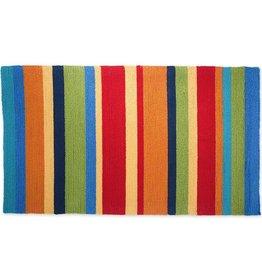 """Indoor/Outdoor Hooked Rug, Summer Stripes 42""""x24''"""