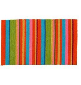 """Indoor/Outdoor Hooked Rug, Fiesta Stripe 42""""x24"""""""