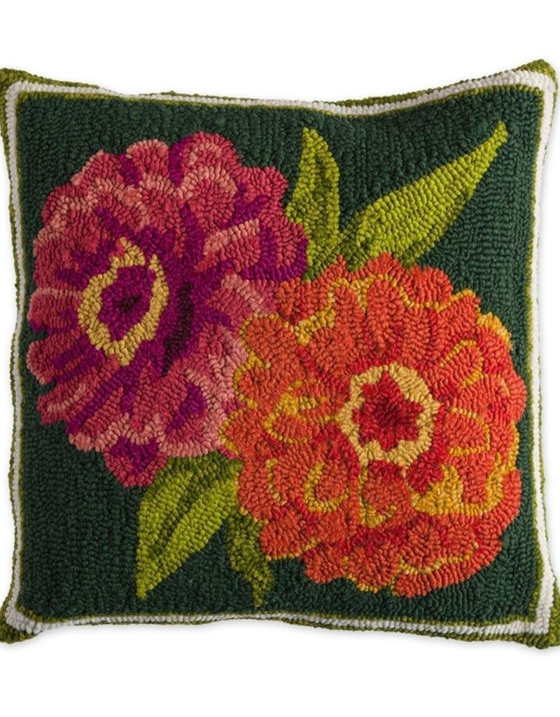 """Indoor/Outdoor Hooked Pillow, Zinnia 18""""x18"""""""