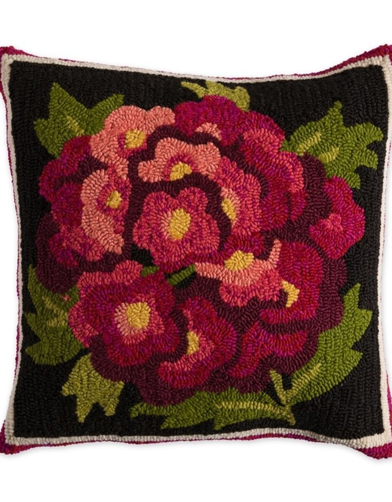 """Indoor/Outdoor Hooked Pillow, Verbena 18""""x18"""""""