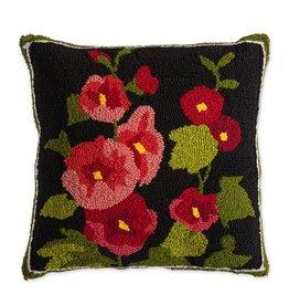 """Indoor/Outdoor Hooked Pillow, Hollyhock 18""""x18"""""""