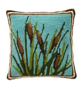 "Indoor/Outdoor Hooked Pillow, Cattail 18""x18"""