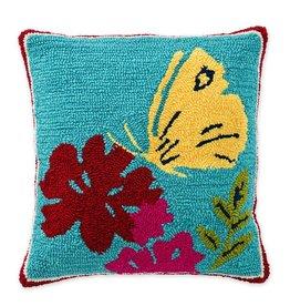 "Indoor/Outdoor Hooked Pillow, Butterfly 18""x18''"