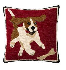 """Indoor/Outdoor Hooked Pillow, Beagle 18""""x18"""""""