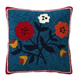 """Indoor/Outdoor Hooked Pillow, Ansley Bouquet 18""""x18"""""""