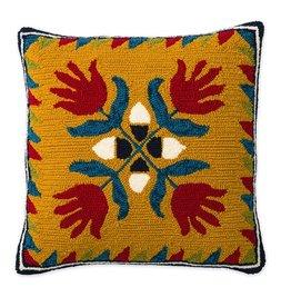 """Indoor/Outdoor Hooked Pillow, Ansley Applique 18""""x18"""""""