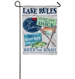 Lake Rules Garden Suede Flag