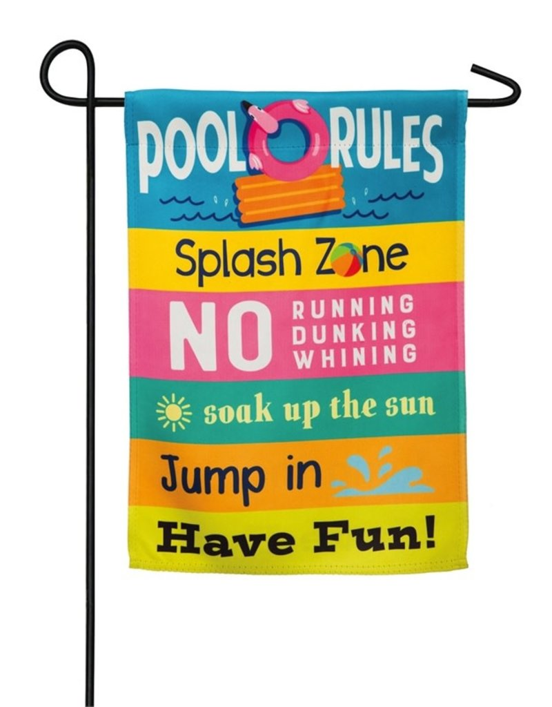 Pool Rules Garden Suede Flag