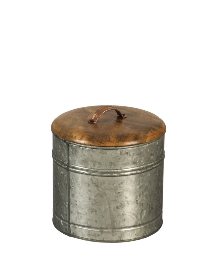 Nested Metal and Wood Containers with Lid, Set of 3