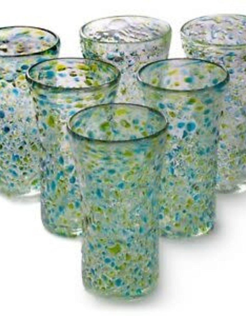 Lily Glass - Del Mar (Turquoise/Lemon Green Pebble) 14oz