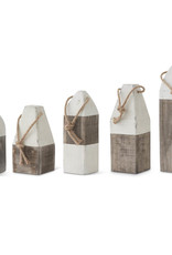 Set of 5 Gray and White Wooden Buoys (Grad Sizes)