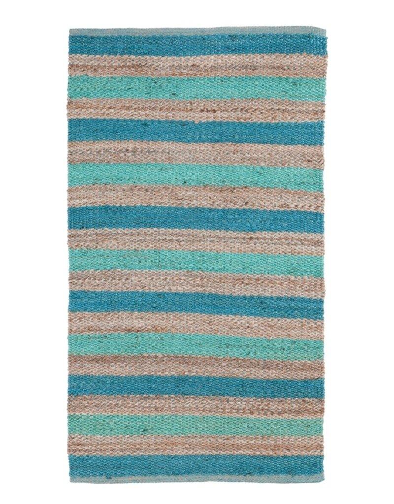 Indoor/Outdoor Hand Woven Jute Rug Turquoise and Aqua Stripes 3'x5'